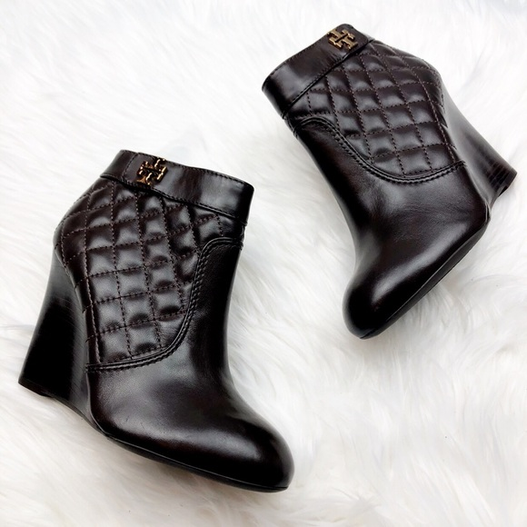0a4993dec New Tory Burch Leila Brown Quilted Wedge Booties